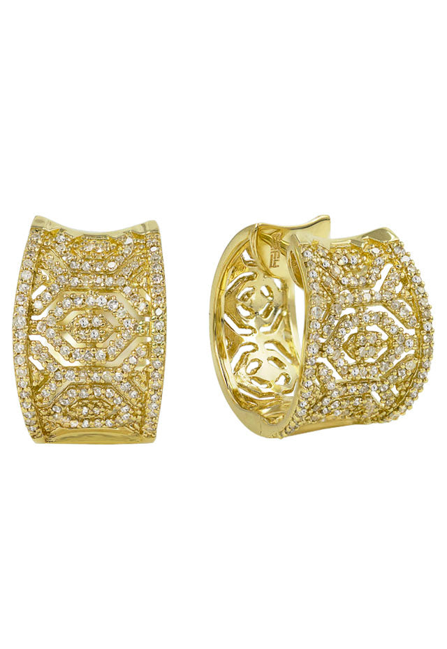 Moderna D'Oro Yellow Gold Diamond Earrings, .73 TCW
