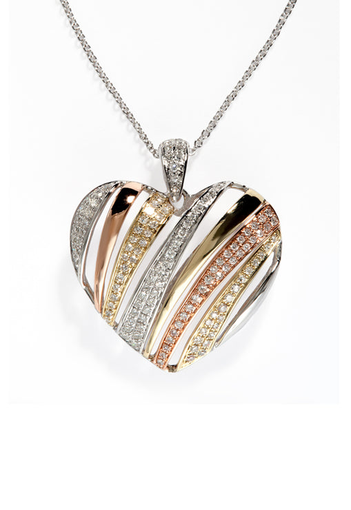 Effy Trio 14K Tri-Color Gold Diamond Heart Pendant, 0.46 TCW