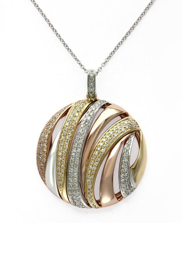 Moderna Tri Color 14K Gold Diamond Pendant, .71 TCW