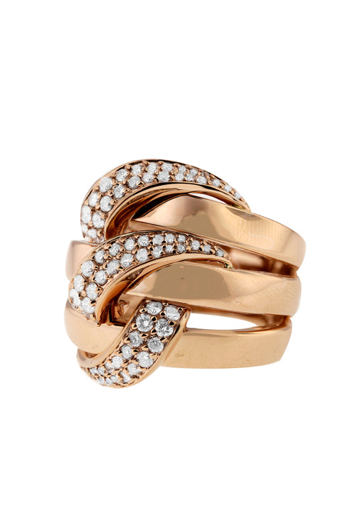 Moderna Rose Gold Diamond Ring, .99 TCW