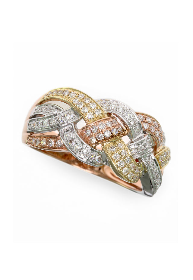 Moderna Tri Color 14K Gold Diamond Ring, .48 TCW
