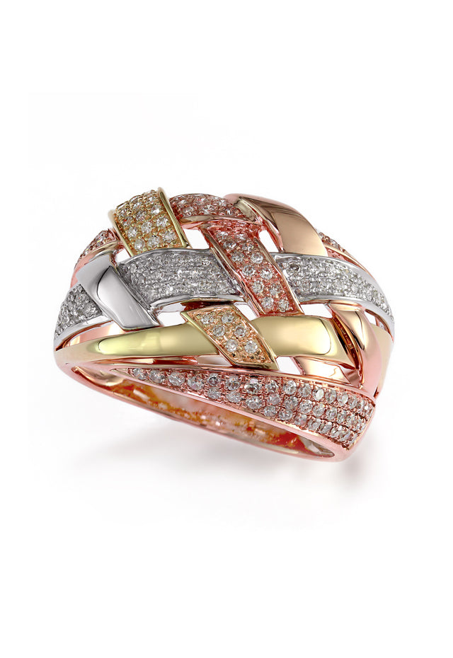 Effy Trio 14K Tri Color Gold Diamond Ring, 0.47 TCW