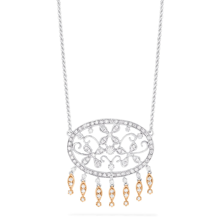 Effy 14K White and Rose Gold Diamond Vintage Necklace, 0.98 TCW