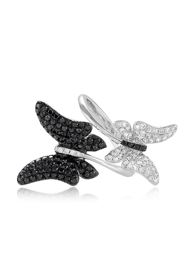 Effy Nature 14K White Gold Black and White Diamond Butterfly Ring, 1.15 TCW