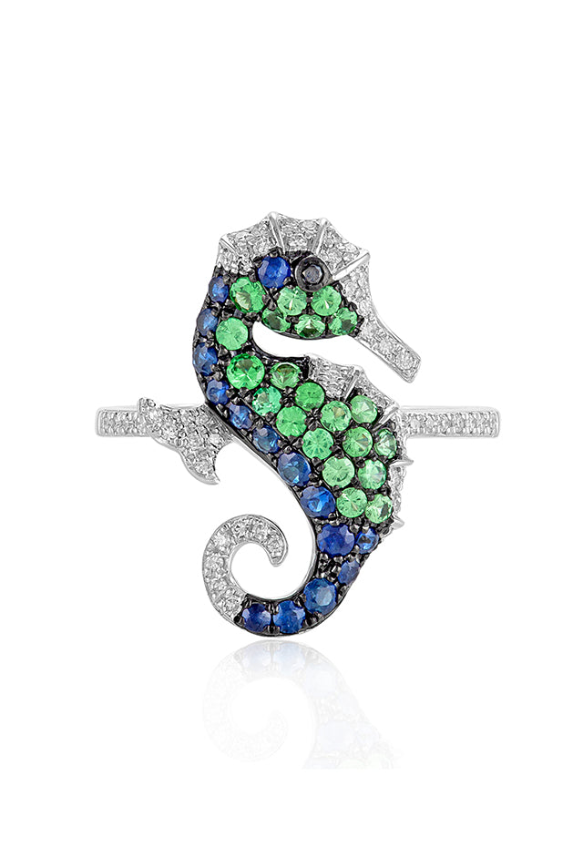 Effy Seaside 14K White Gold Multi Gemstone and Diamond Seahorse Ring