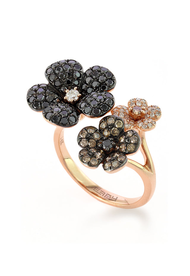 Effy Nature 14K Rose Gold Black, Cognac & White Diamond Ring, 1.33 TCW