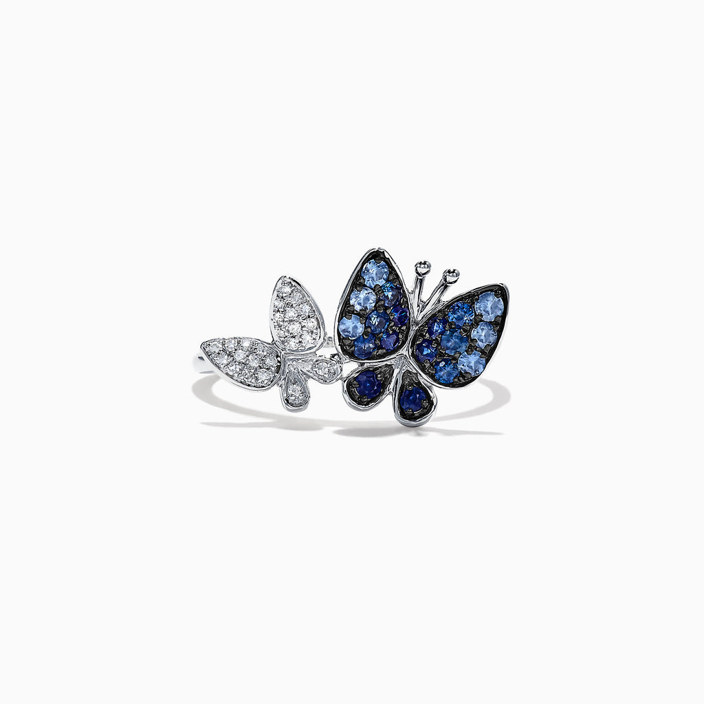 Effy Nature 14K White Gold Sapphire & Diamond Butterfly Ring, 0.42 TCW