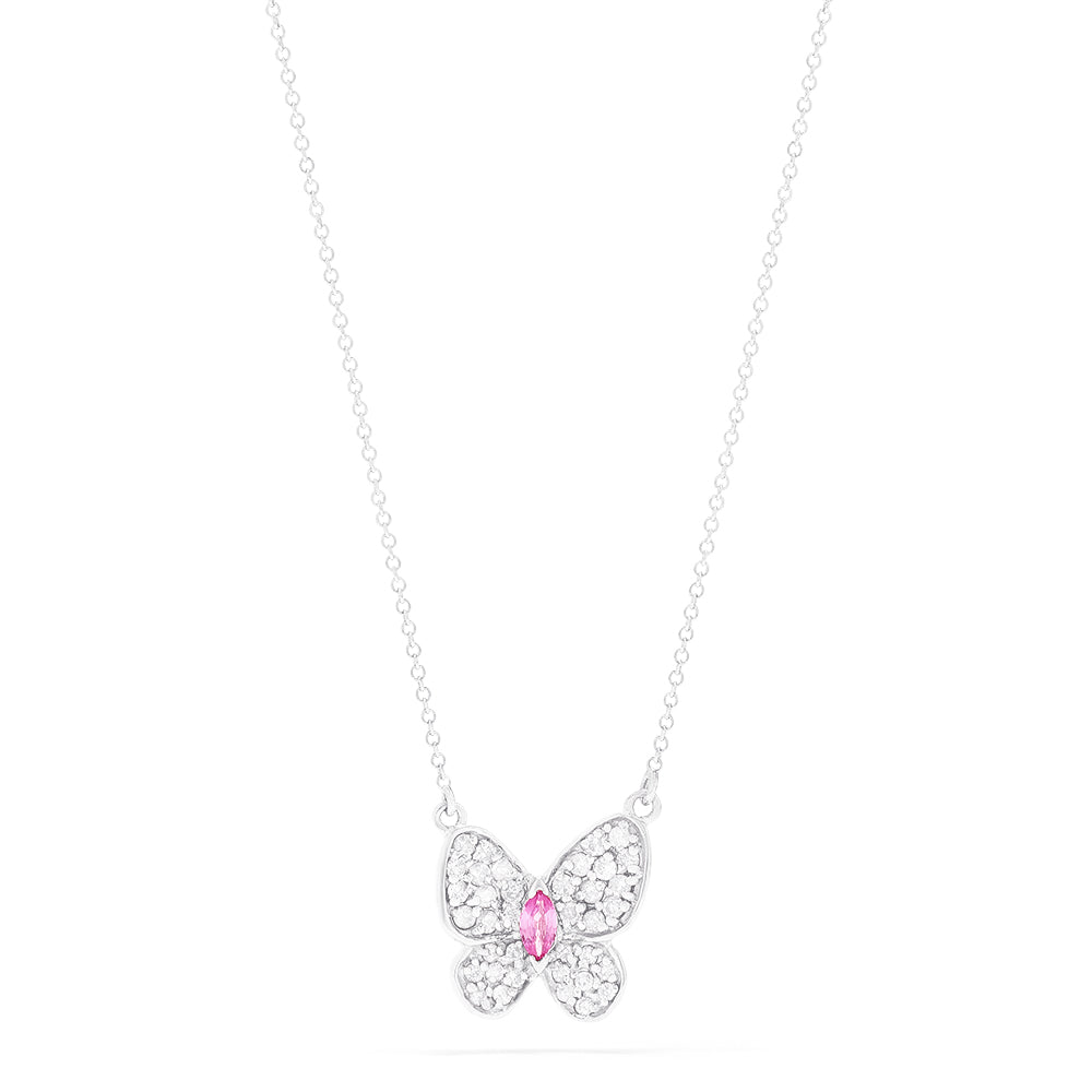 Effy 14K White Gold Pink Sapphire and Diamond Butterfly Necklace, 0.54 TCW