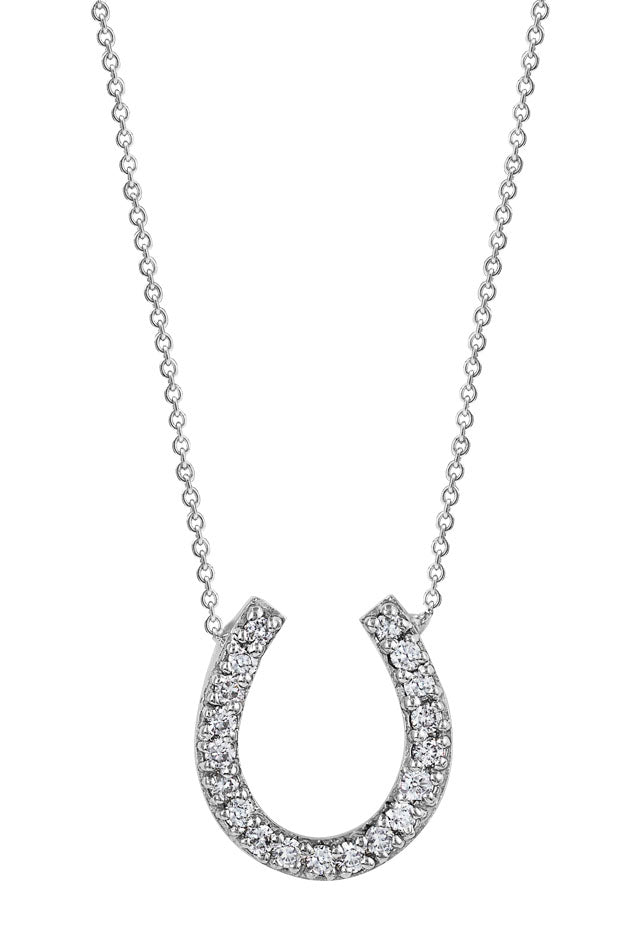 14K White Gold Diamond Horseshoe Pendant, .23 TCW