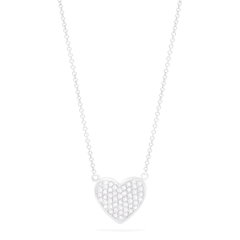 Effy 14K White Gold Diamond Heart Necklace, 0.37 TCW
