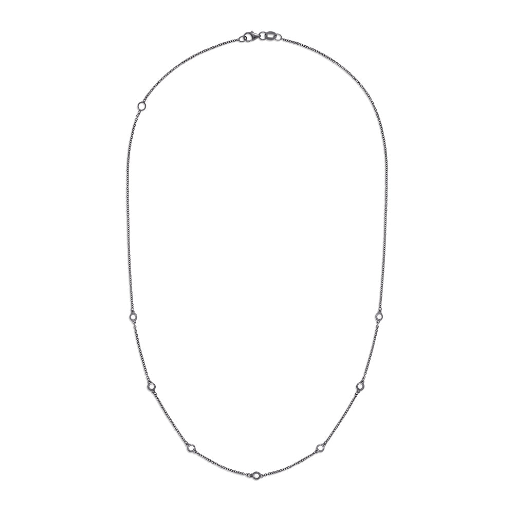 Effy 14K White Gold and Black Rhodium Diamond Station Necklace, 0.21 TCW