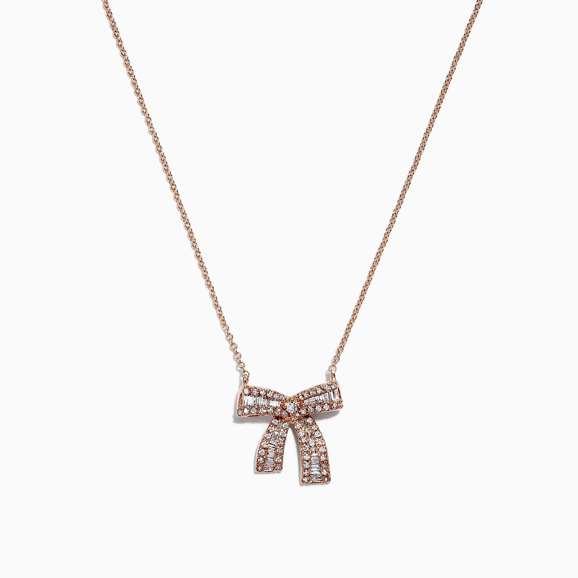 Effy Novelty 14K Rose Gold Diamond Ribbon Necklace, 0.40 TCW