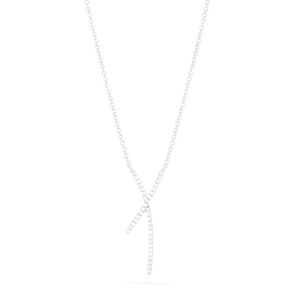 Effy Pave Classica 14K White Gold Diamond Criss Cross Necklace, 0.19 TCW