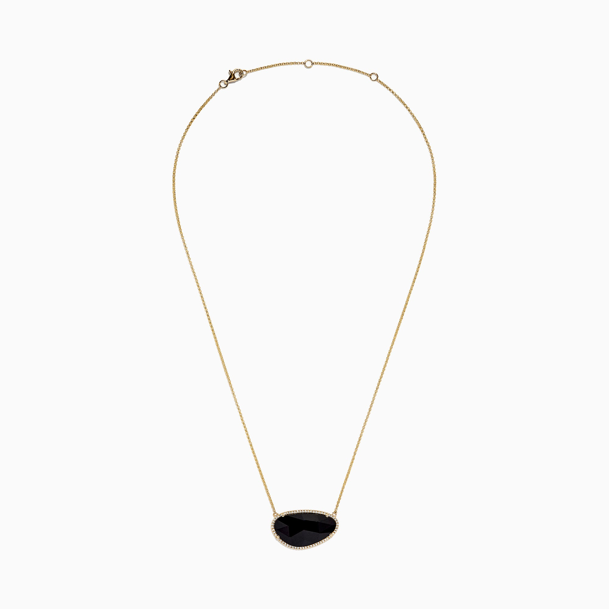 Effy Eclipse 14K Yellow Gold Onyx and Diamond Necklace, 11.67 TCW