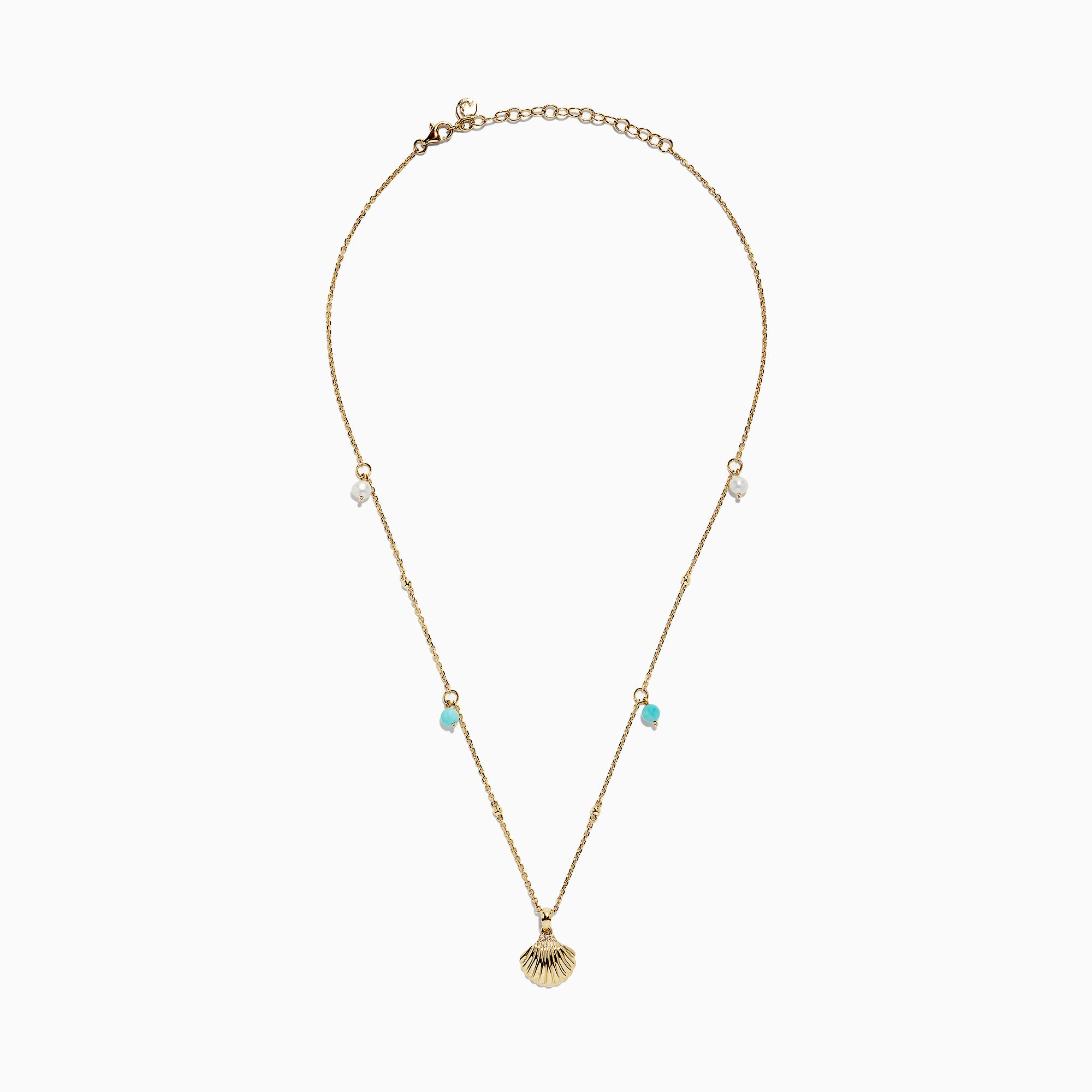 Effy 14K Yellow Gold Amazonite, Pearl and Diamond Shell Necklace, 0.86 TCW