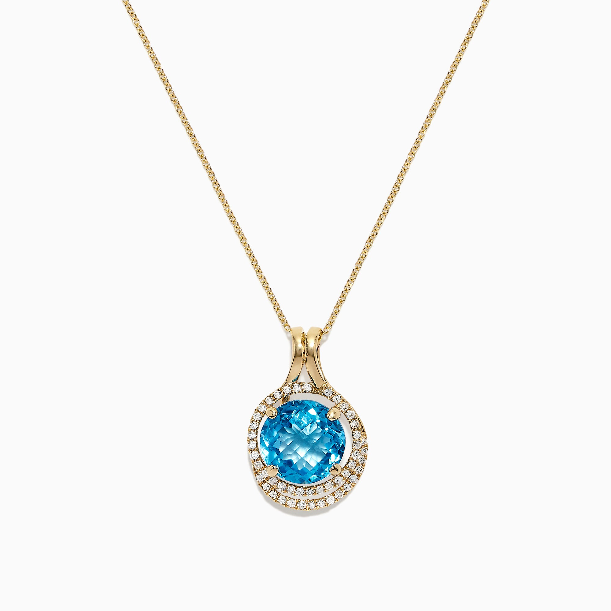 Effy 14K Yellow Gold Blue Topaz and Diamond Pendant, 5.63 TCW