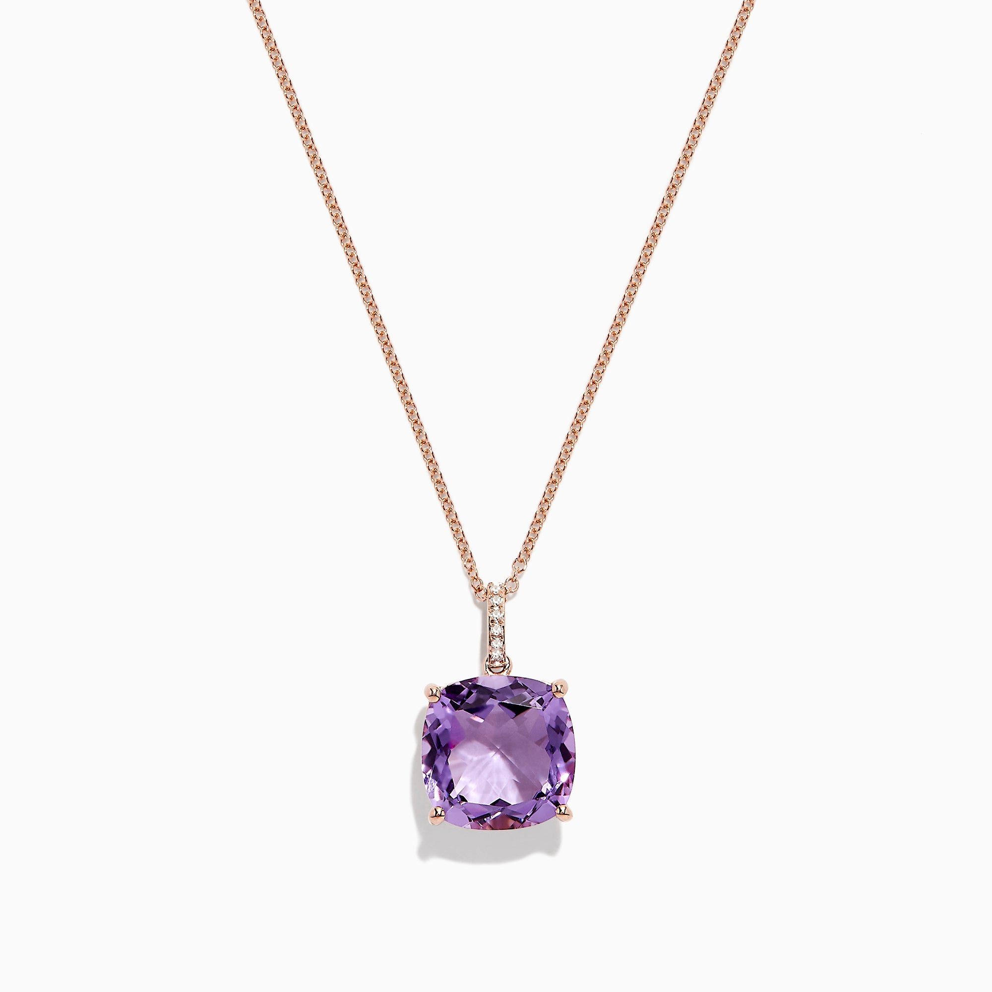 Effy 14K Rose Gold Amethyst and Diamond Pendant, 6.62 TCW
