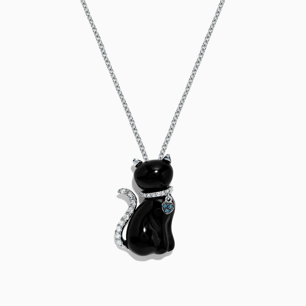 Effy Safari 14K White Gold Onyx and Diamond Cat Pendant, 5.35 TCW