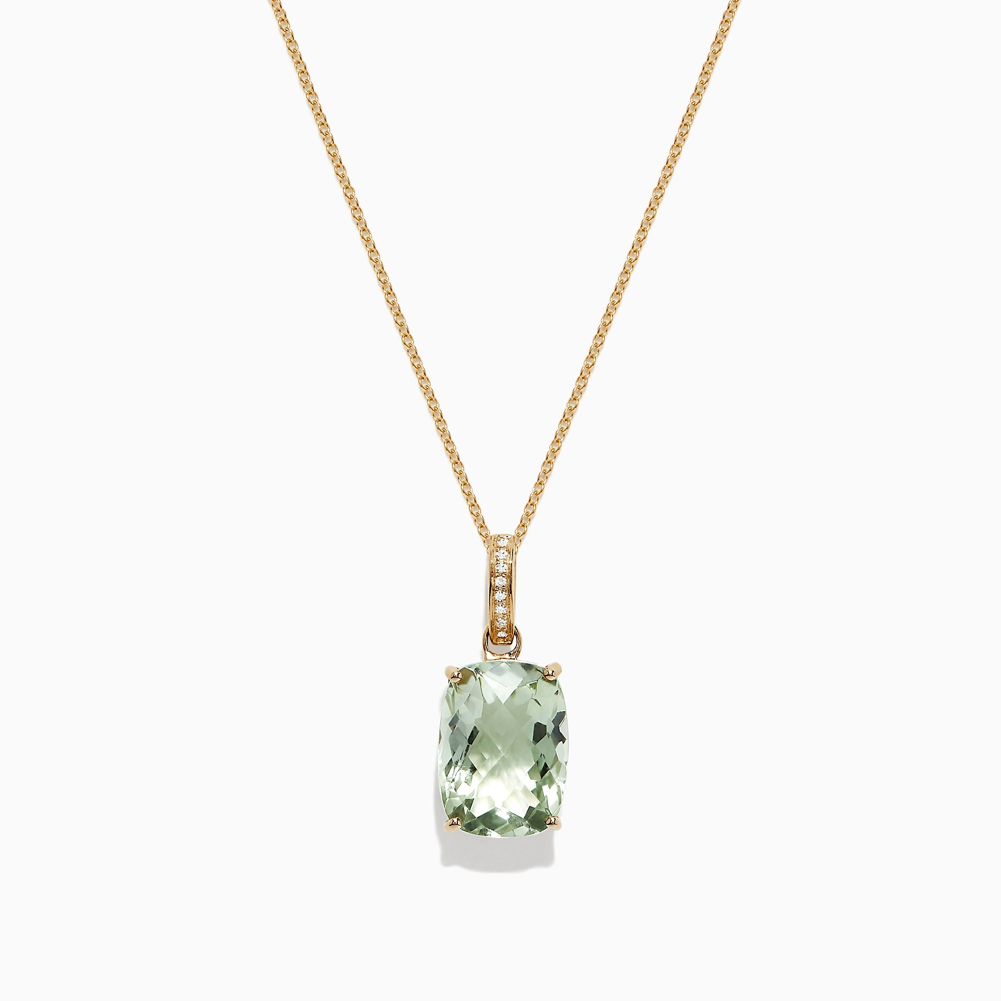 Effy 14K Yellow Gold Green Amethyst and Diamond Pendant, 6.52 TCW
