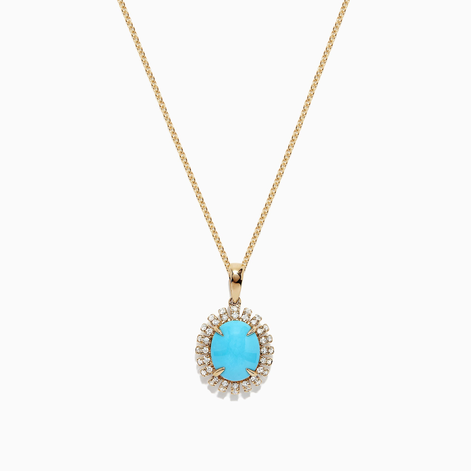 Effy 14K Yellow Gold Turquoise and Diamond Pendant, 2.54 TCW