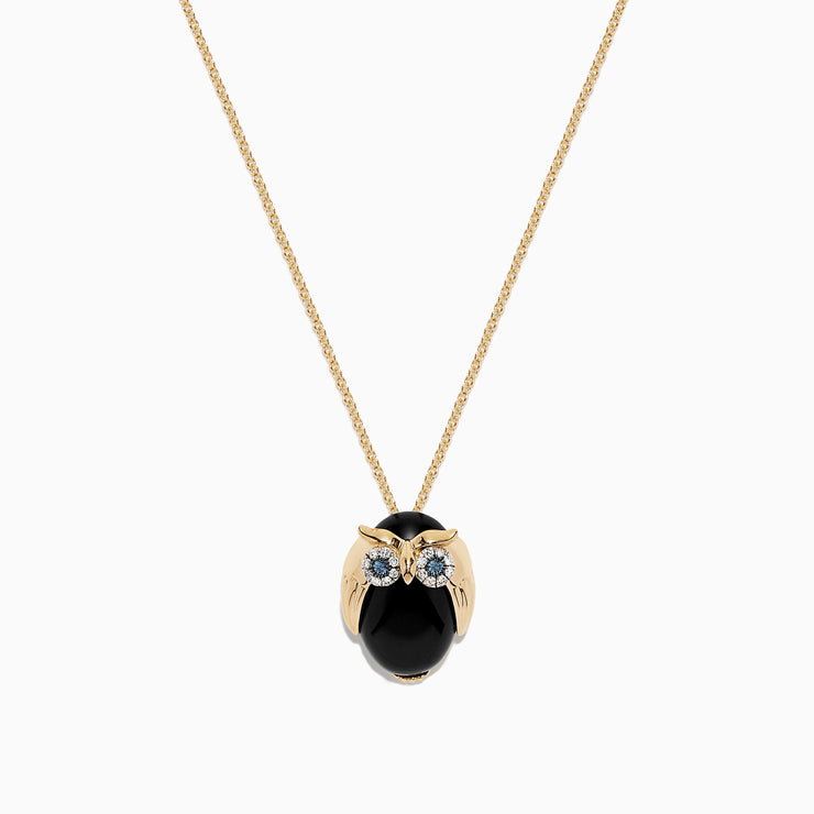 Effy Safari 14K Yellow Gold Onyx and Diamond Owl Pendant, 5.04 TCW