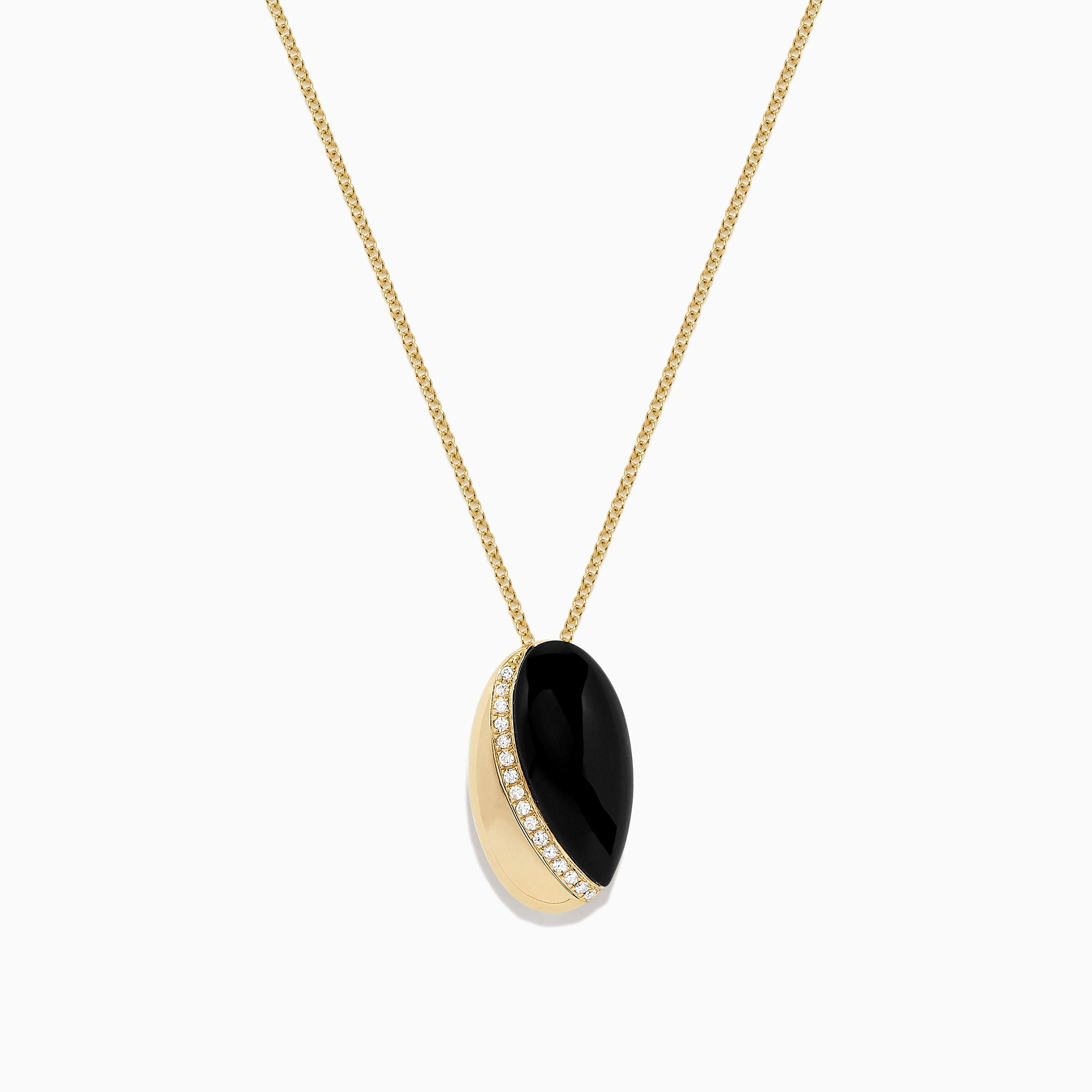 Effy Eclipse 14K Yellow Gold Onyx and Diamond Pendant, 3.19 TCW