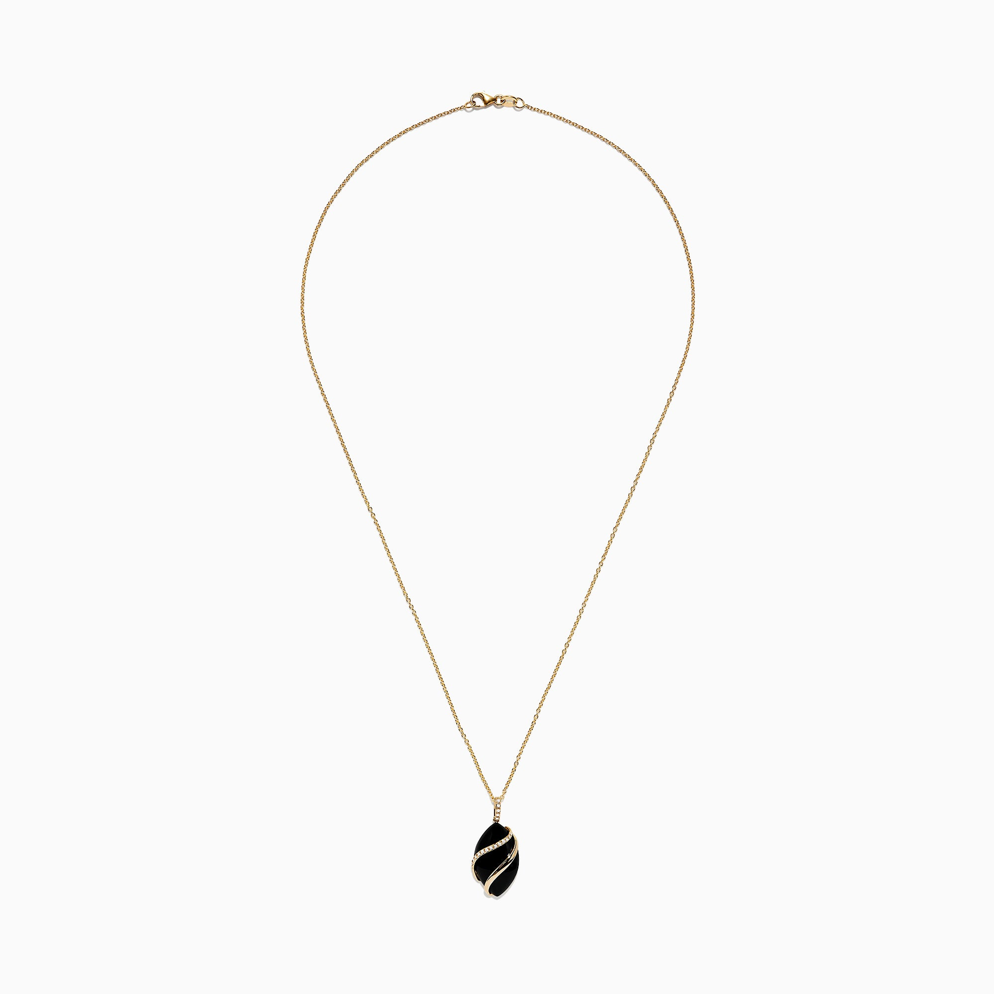 Effy Eclipse 14K Yellow Gold Onyx and Diamond Pendant, 7.08 TCW