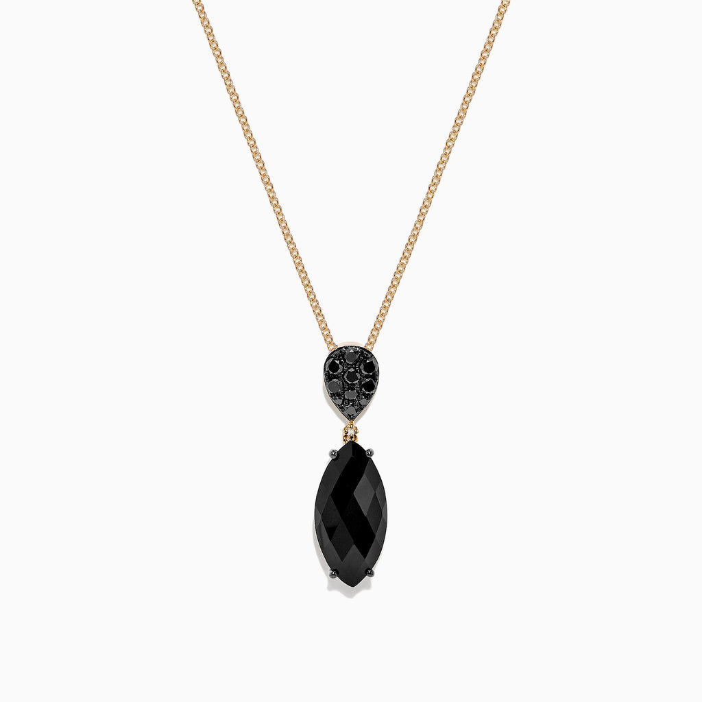 Effy Eclipse 14K Yellow Gold Onyx and Diamond Pendant, 4.65 TCW