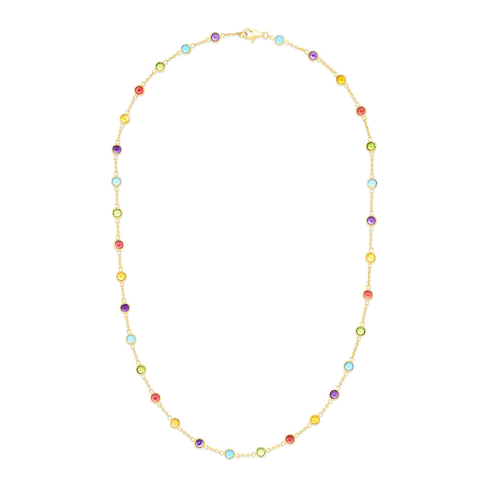 Effy Mosaic 14K Yellow Gold Multi Gemstone Station Necklace, 8.70 TCW
