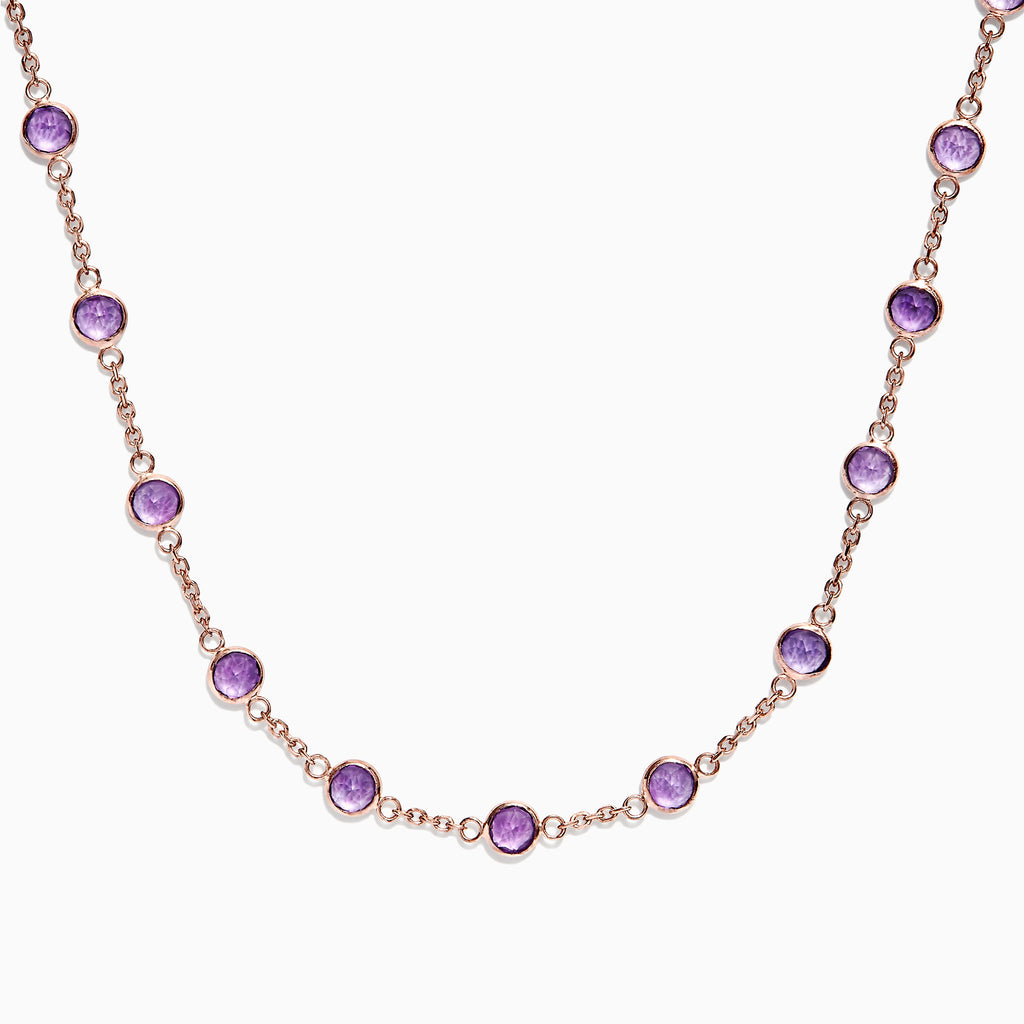 Effy 14K Rose Gold Amethyst Station Necklace, 8.25 TCW