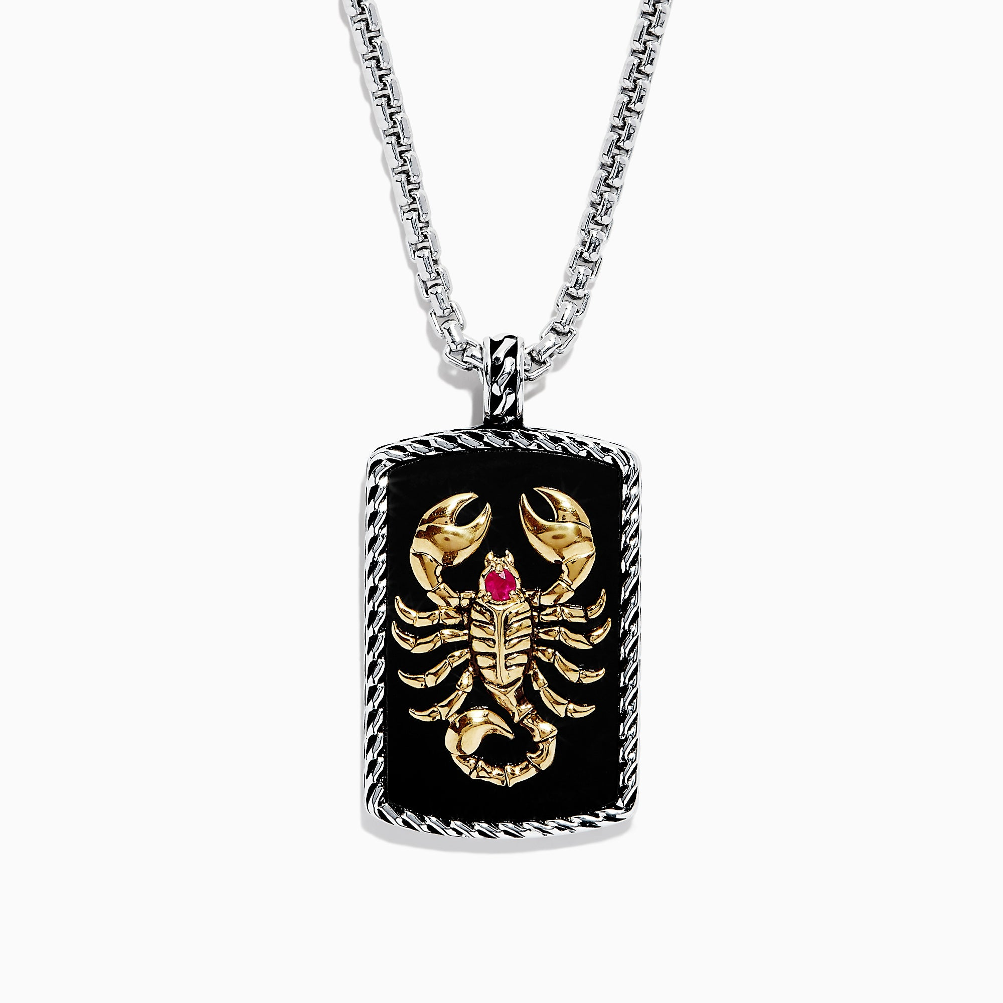 Effy Men's Silver & 14K Gold Plating Onyx & Ruby Scorpion Pendant, 16.50 TW