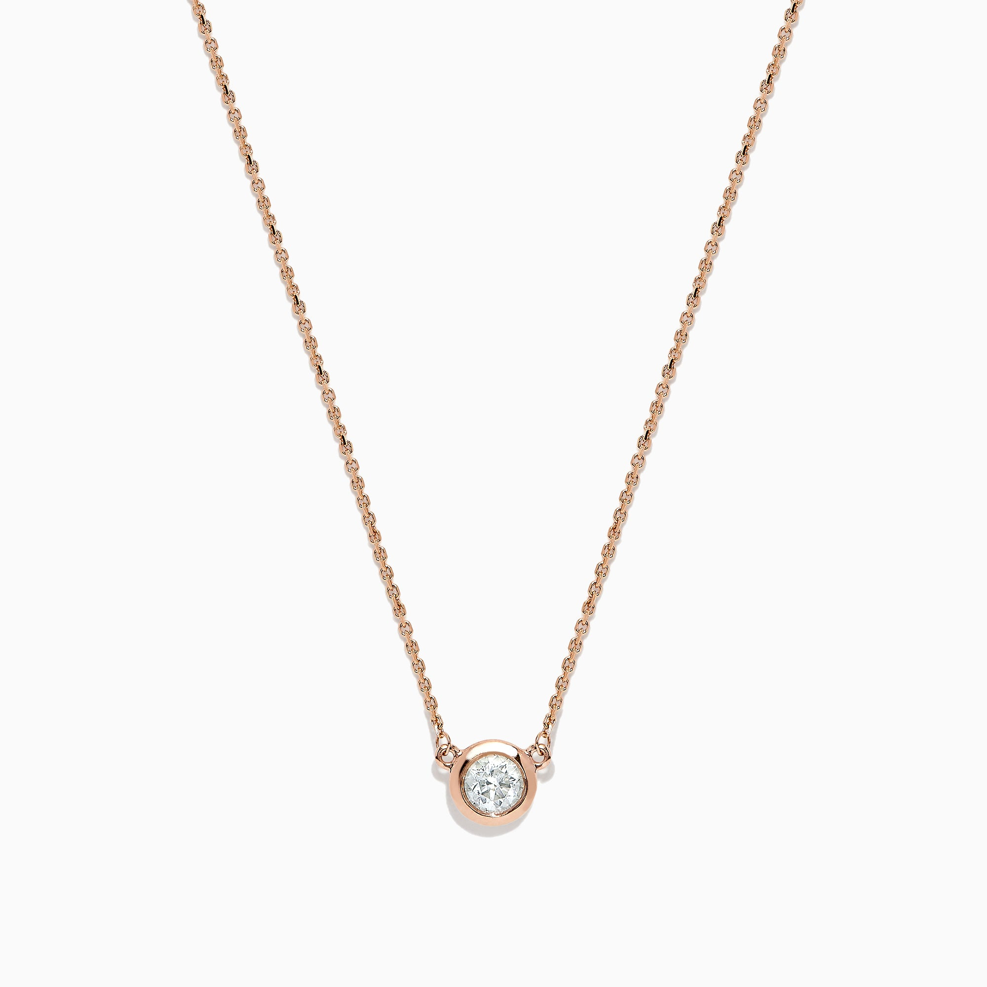Effy 14K Rose Gold Bezel Set Diamond Necklace, 0.39 TCW
