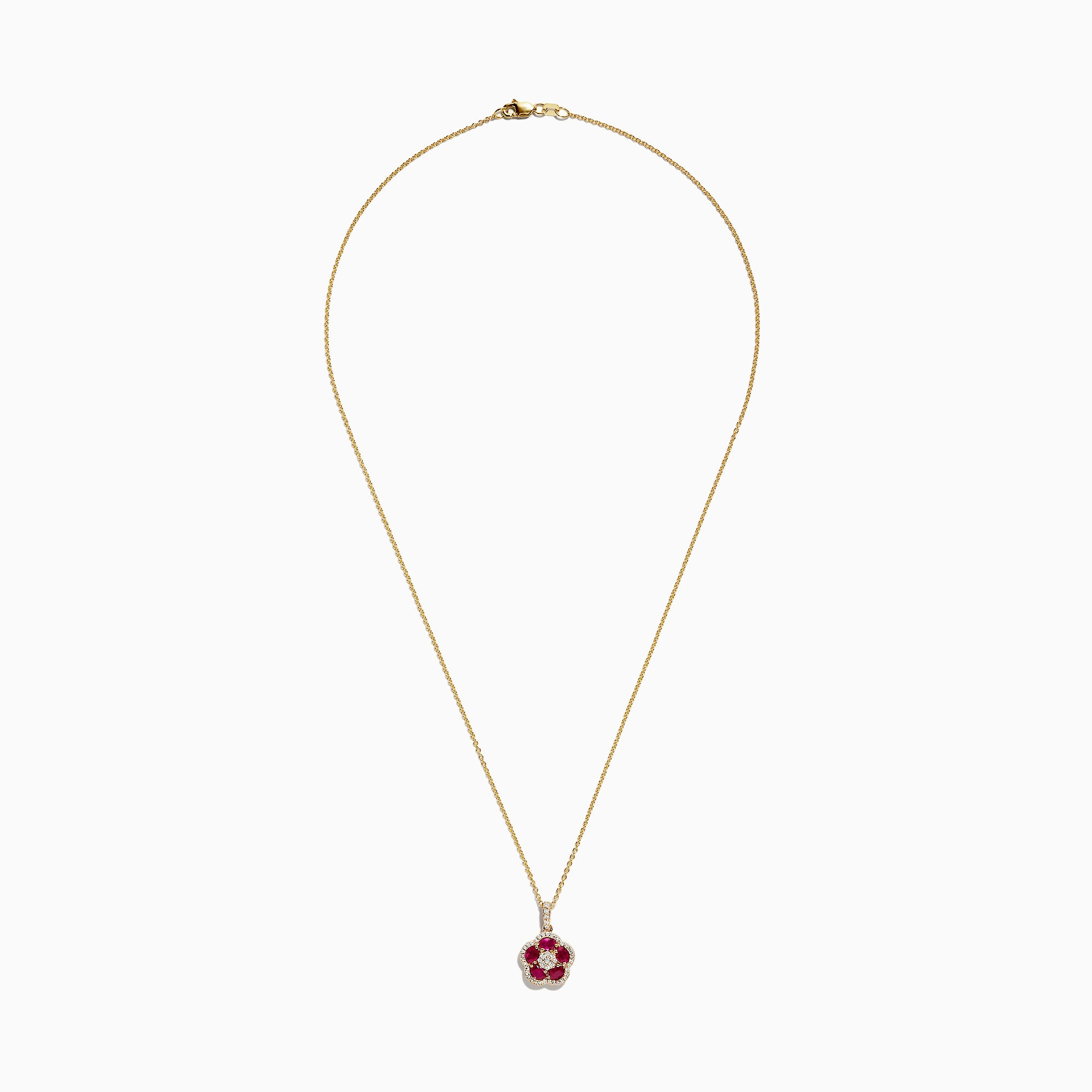Effy Ruby Royale 14K Yellow Gold Ruby and Diamond Flower Pendant, 1.43 TCW