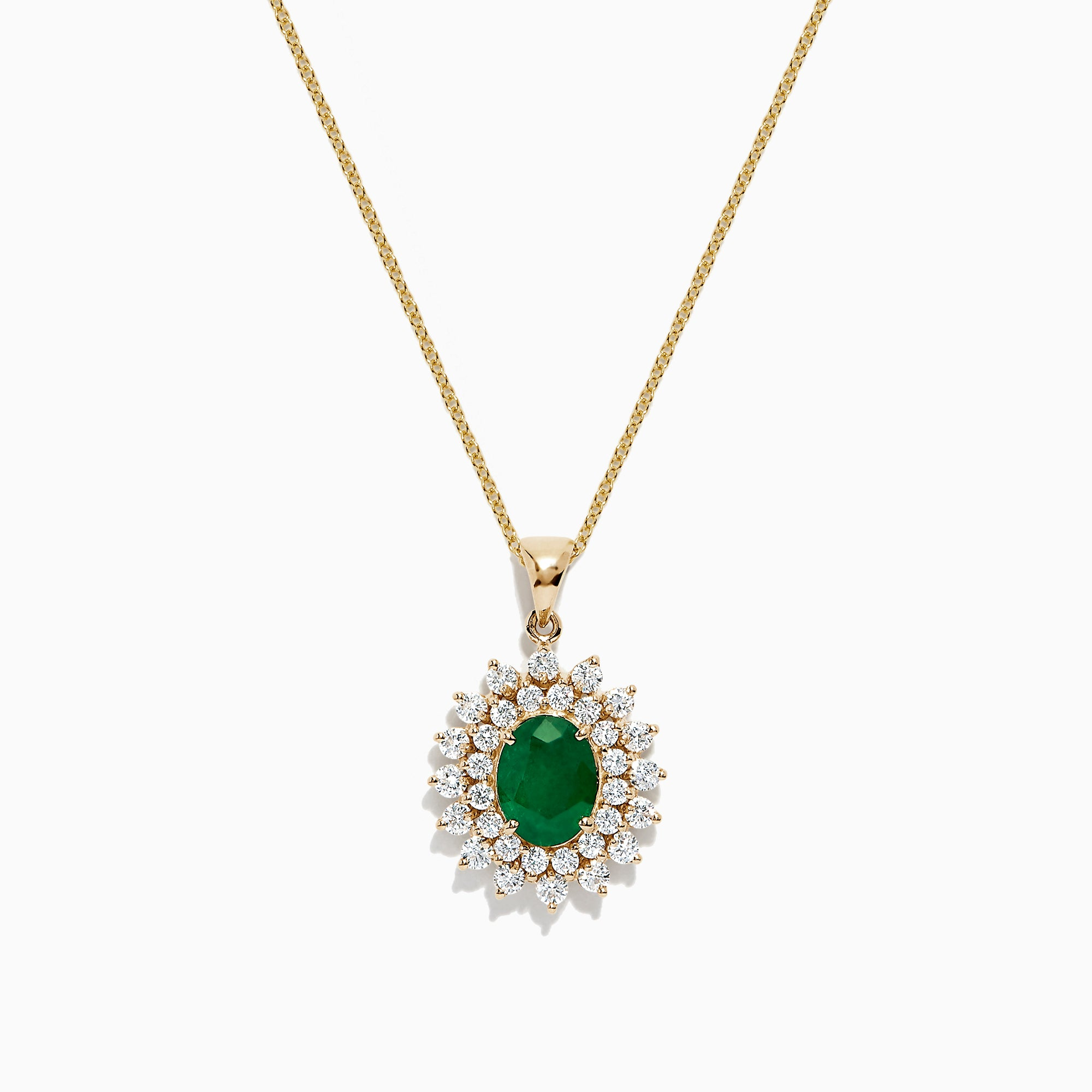 Effy Brasilica 14K Yellow Gold Emerald and Diamond Pendant, 2.54 TCW
