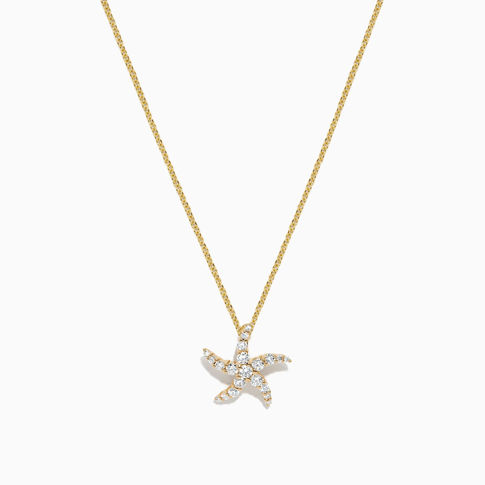 Effy Seaside 14K Yellow Gold Diamond Starfish Pendant, 0.36 TCW