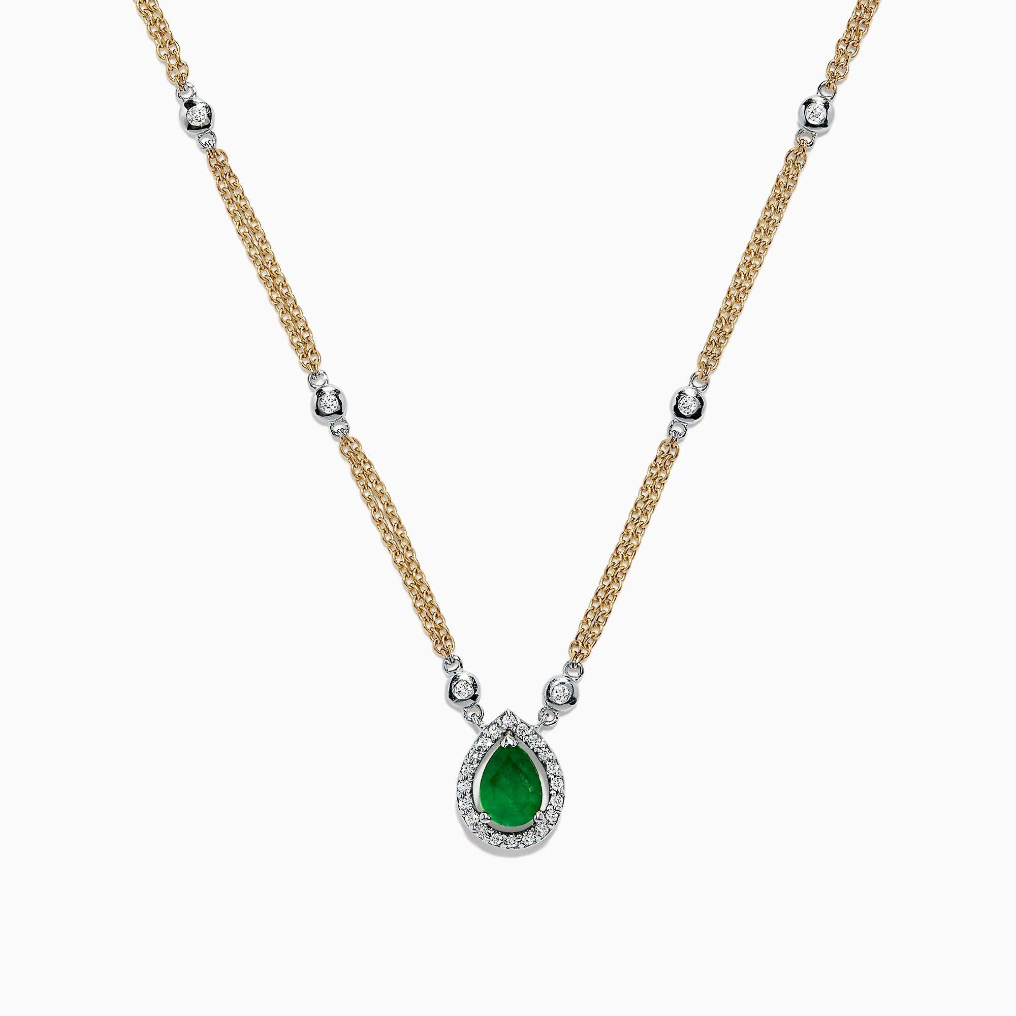 Effy Brasilica 14K Two Tone Gold Emerald and Diamond Necklace, 0.77 TCW