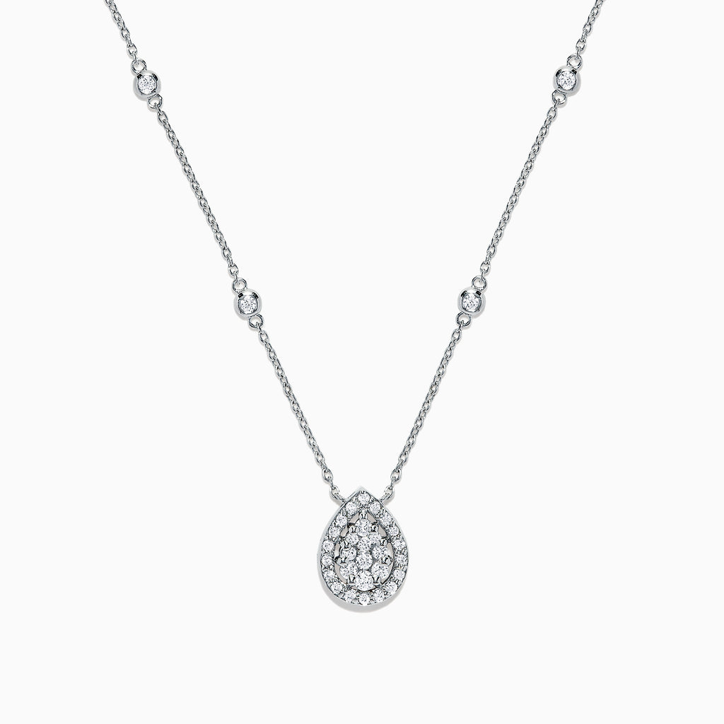 Effy Pave Classica 14K White Gold Diamond Necklace, 0.41 TCW