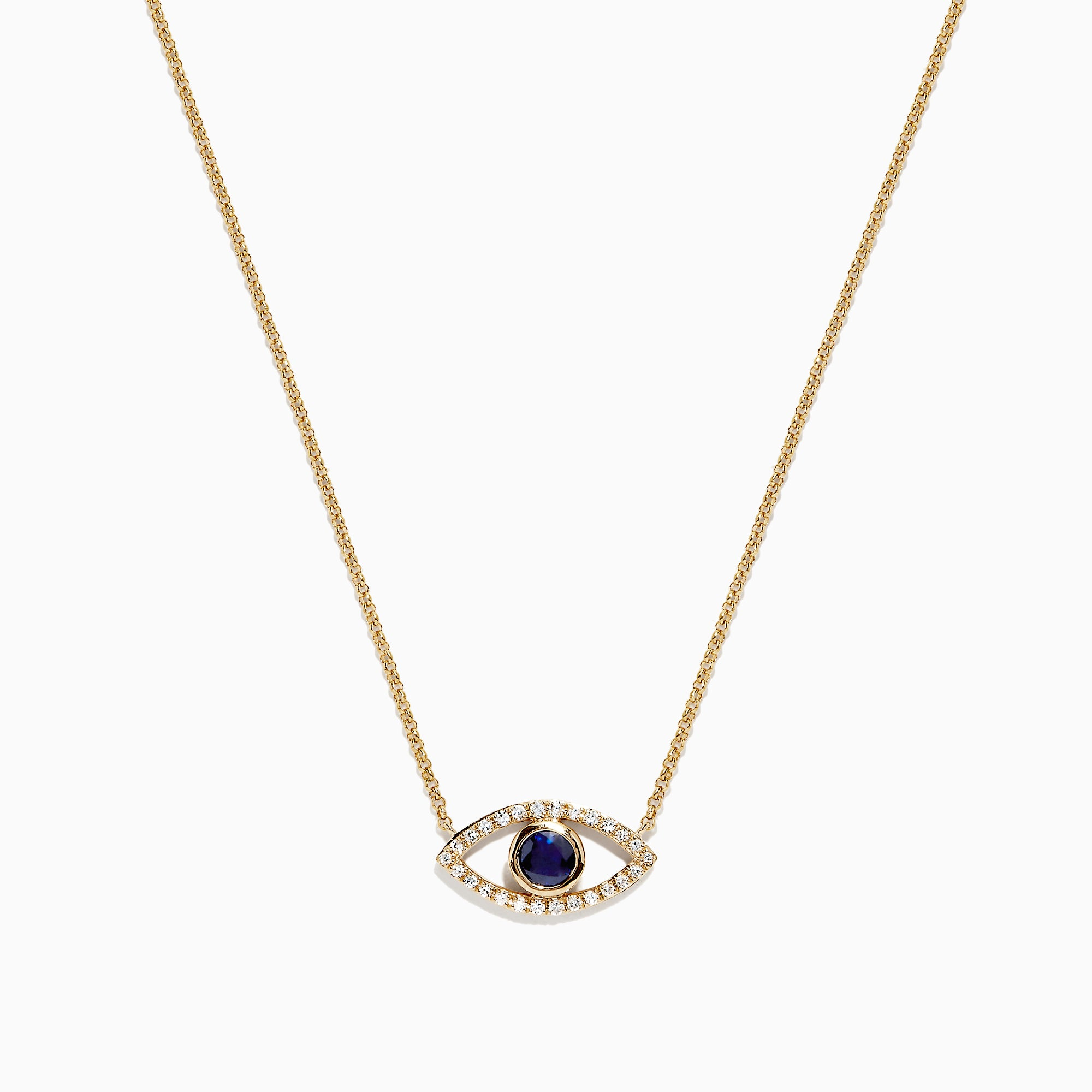 Effy Novelty 14K Gold Sapphire and Diamond Evil Eye Pendant, 0.43 TCW