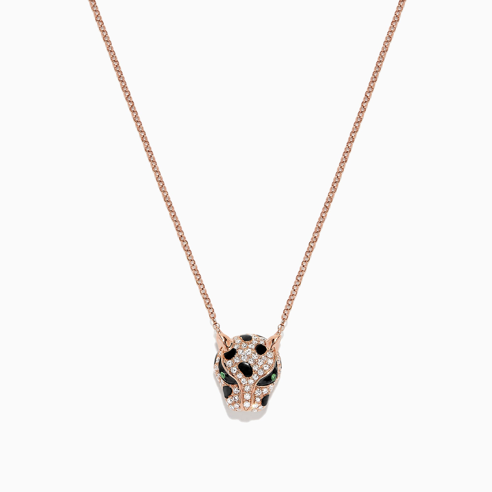 Effy Signature 14K Rose Gold Diamond and Tsavorite Panther Head Necklace, 0.33 TCW