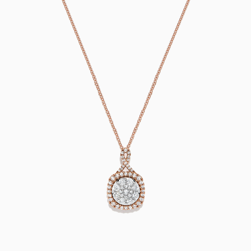 Effy 14K Rose and White Gold Diamond Cluster Pendant, 0.63 TCW