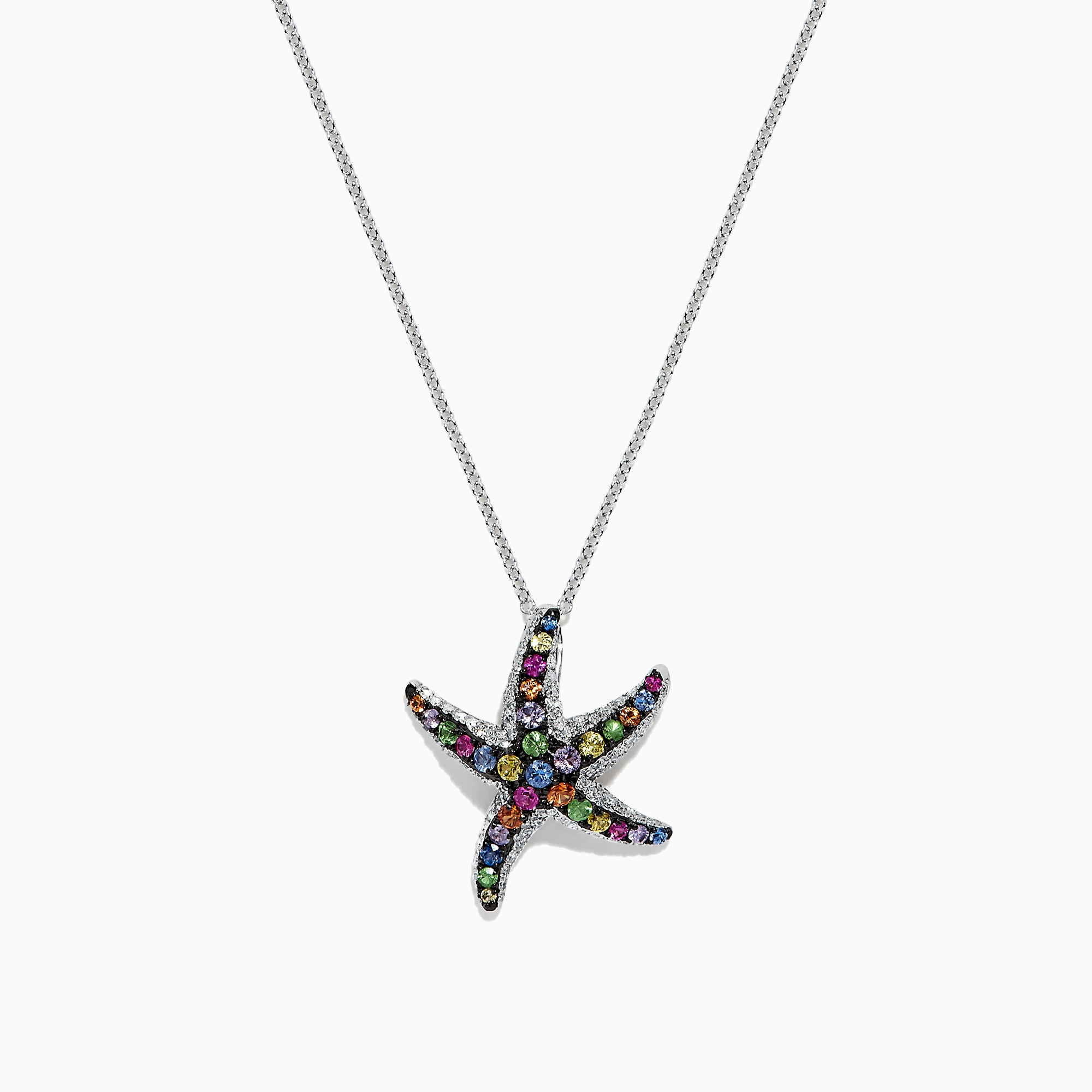 Effy Watercolors 14K Gold Multi Sapphire & Diamond Starfish Pendant, 1.15 TCW