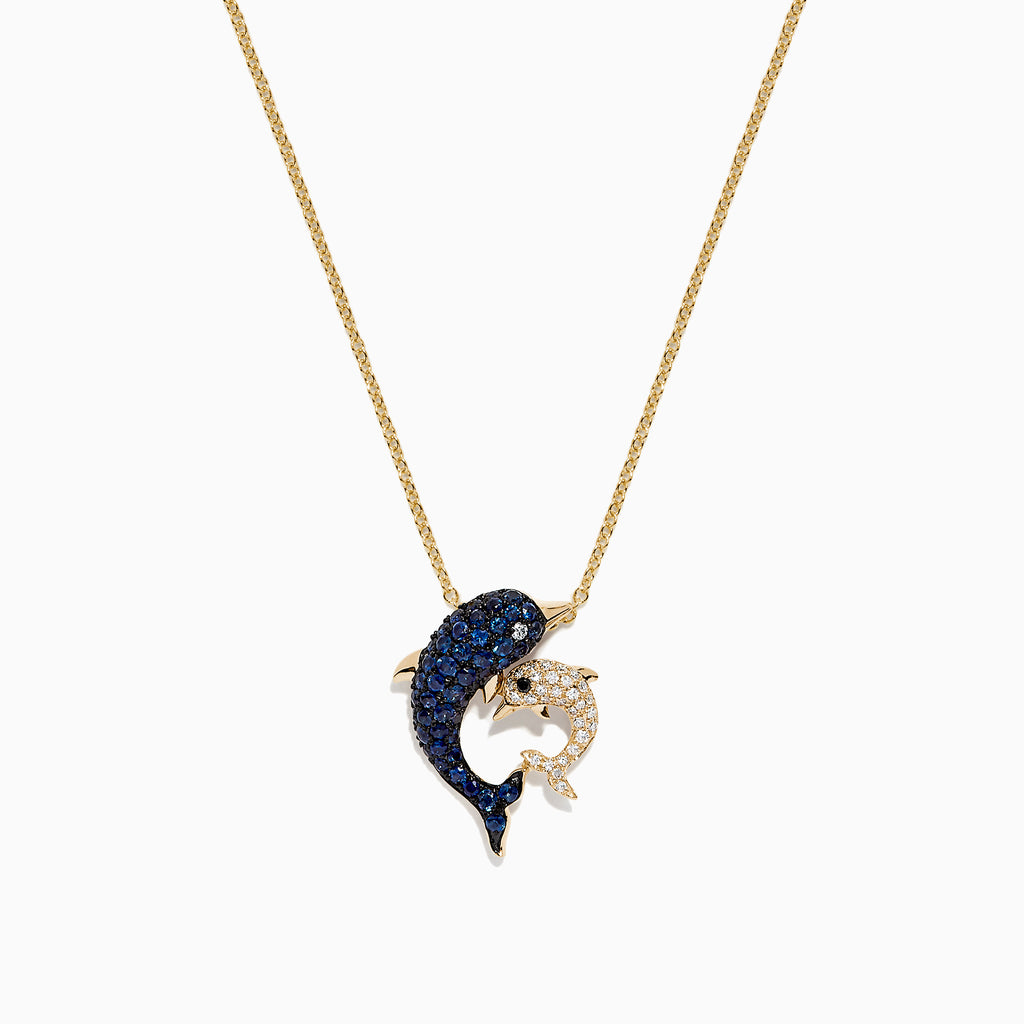 Effy Seaside 14K Yellow Gold Sapphire & Diamond Dolphins Pendant, 0.72 TCW