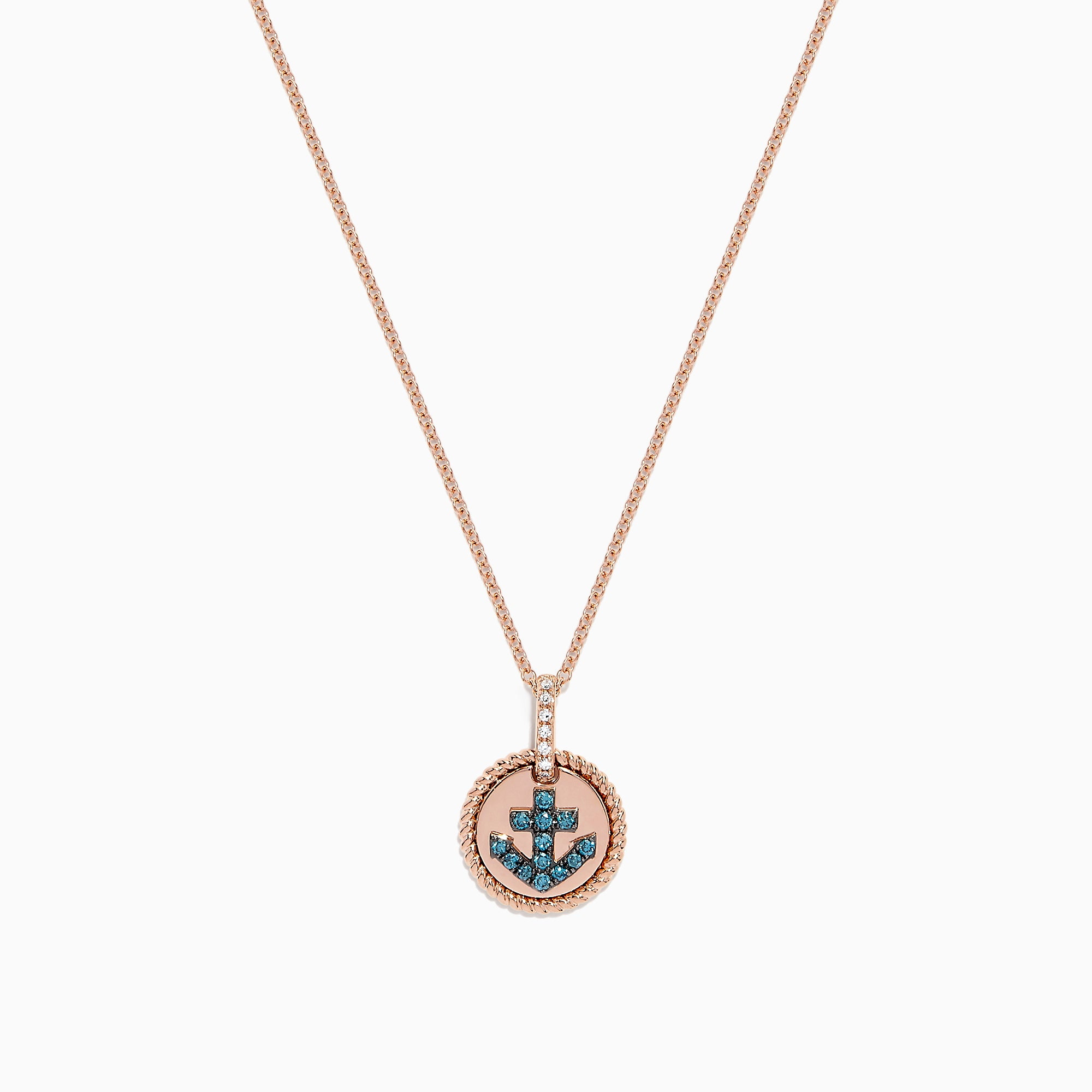 Effy Seaside 14K Gold Blue and White Diamond Anchor Disk Pendant, 0.13 TCW