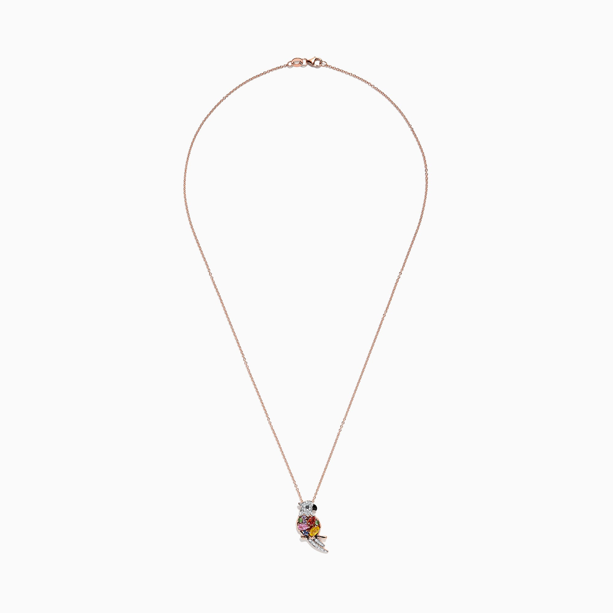 Effy Safari 14K Rose Gold Multi Sapphire & Diamond Parrot Pendant, 1.23 TCW