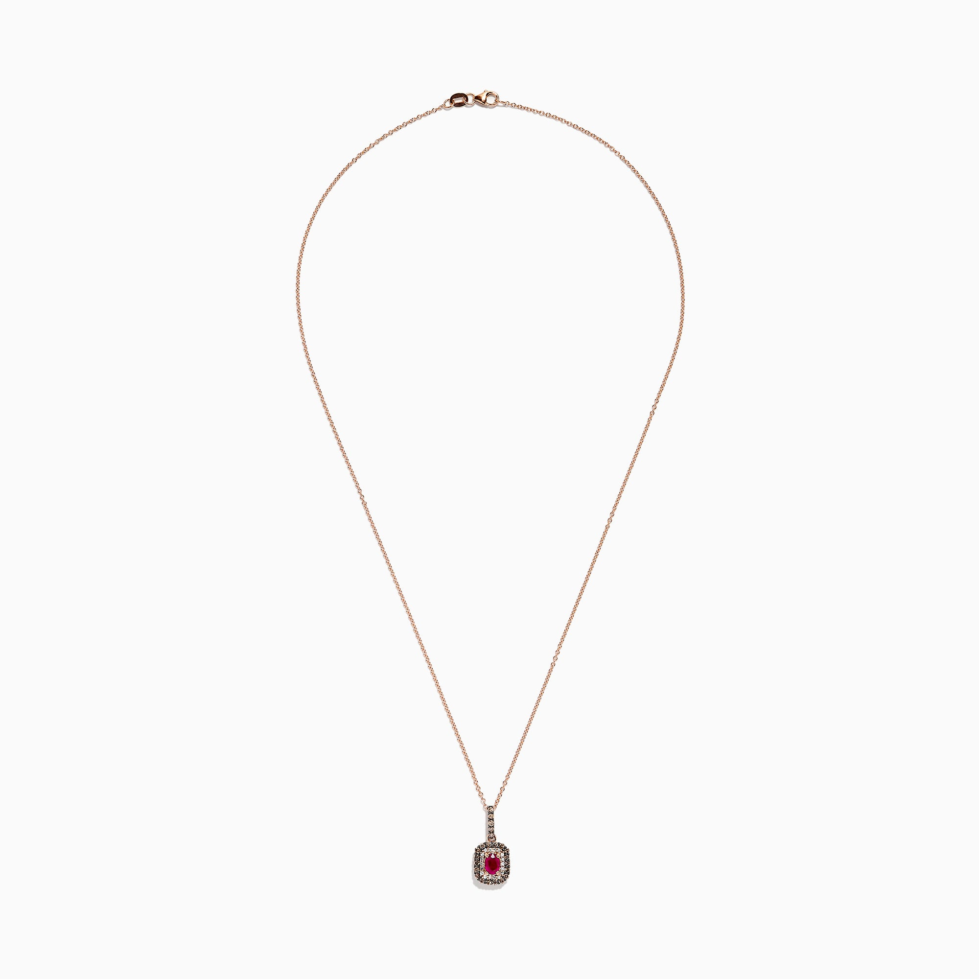 Effy 14K Rose Gold Ruby and Diamond Pendant, 1.00 TCW
