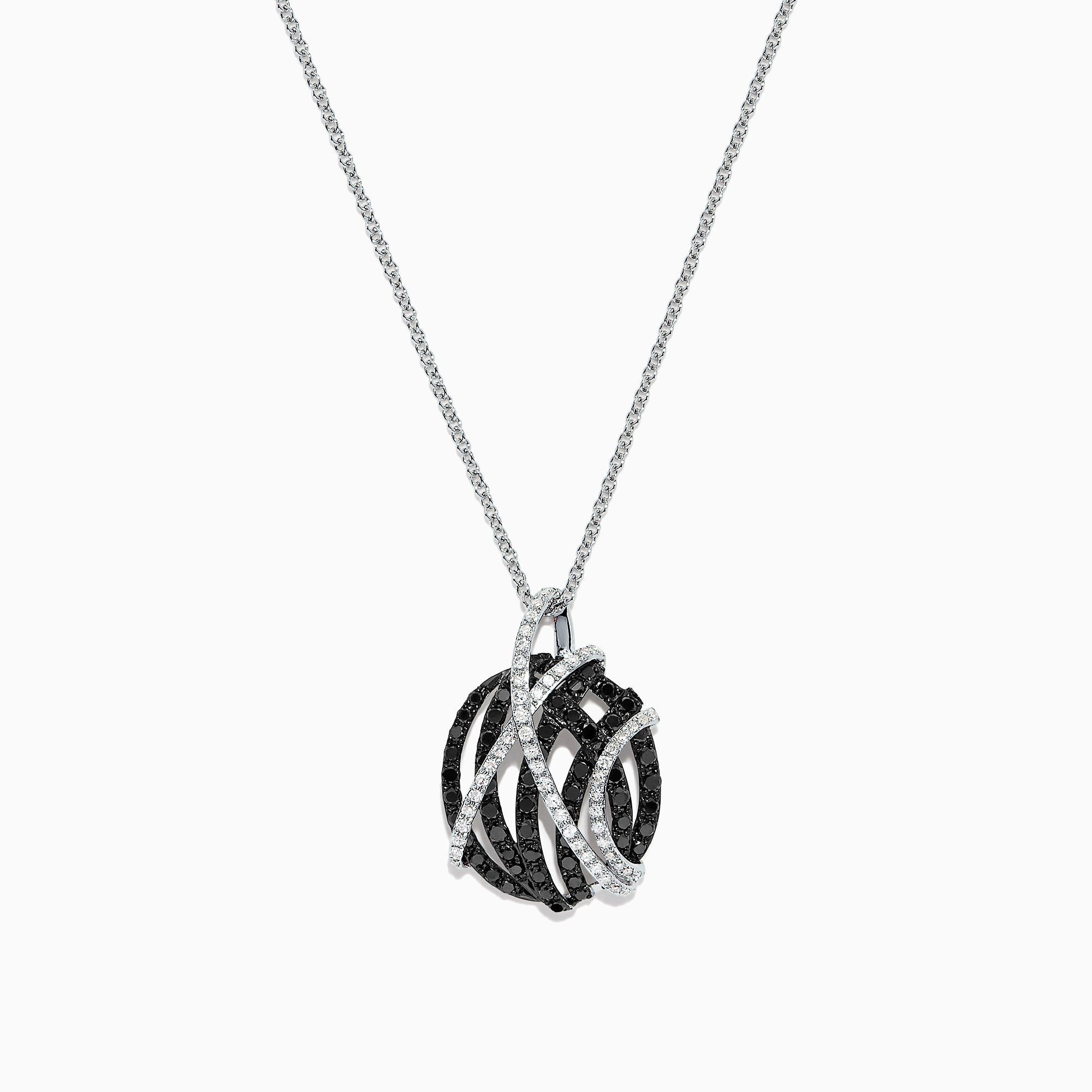 Effy 14K White Gold Black and White Diamond Pendant, 0.92 TCW