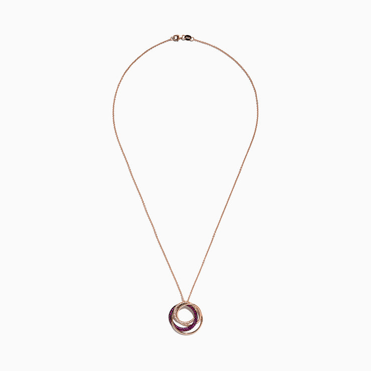 Effy Ruby Royale 14K Rose Gold Ruby and Diamond Circles Pendant, 0.66 TCW