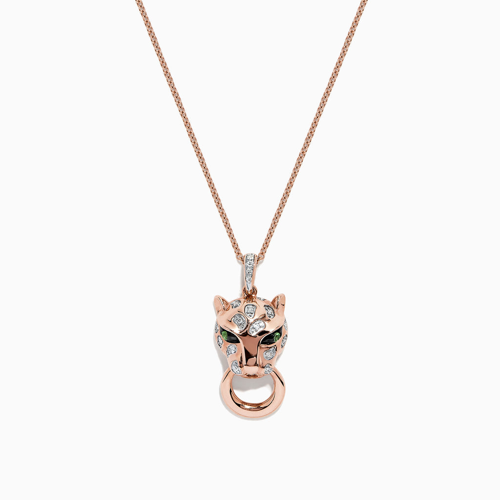 Effy Signature 14K Rose Gold Diamond & Tsavorite Panther Pendant, 0.11 TCW