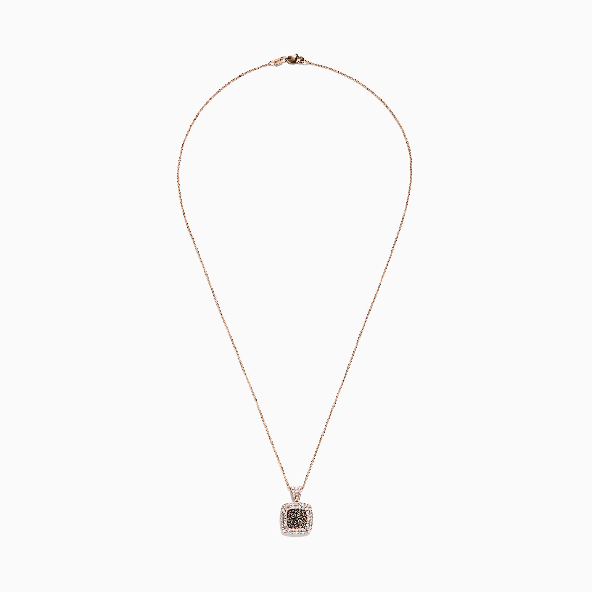 Effy 14K Rose Gold Espresso and White Diamond Pendant, 0.89 TCW