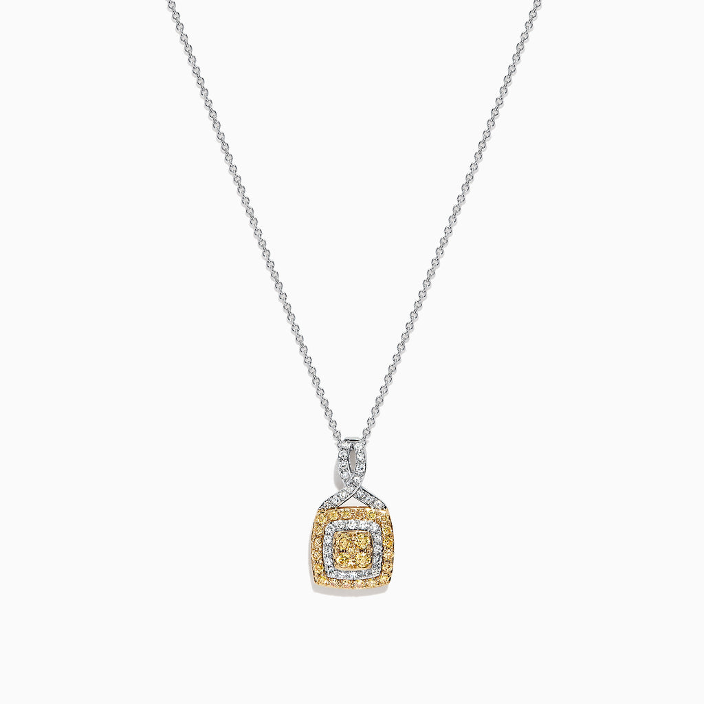 Effy 14K Two Tone Gold Yellow and White Diamond Pendant, 0.34 TCW